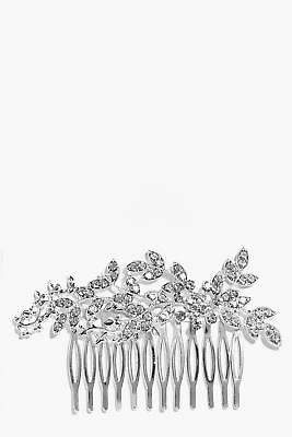 boohoo NEW Womens Bridal Embellished Leaf Hair Comb in Silver size One Size