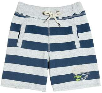 Fred Mello Striped Printed Cotton Blend Shorts
