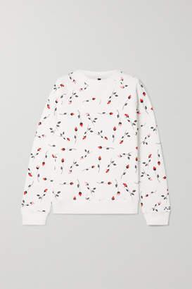 Adam Selman Floral-print Cotton-blend Fleece Sweatshirt - White