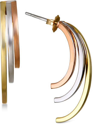 Italian Gold Tri-Color Multi-Layer J-Hoop Earrings in 14k Yellow, White & Rose Gold