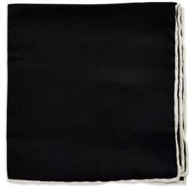 Black & Brown Black Brown Silk Solid Pocket Square