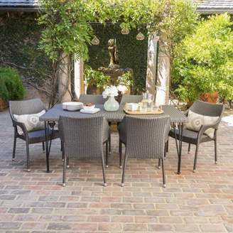 Noble House Stuart Outdoor 7 Piece Wicker Rectangular Dining Set with Stacking Chairs, Grey