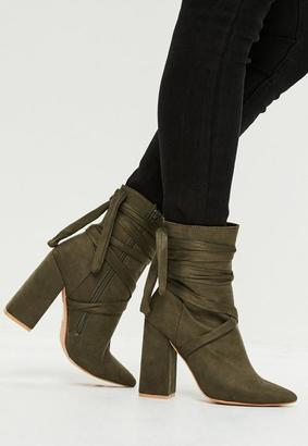 Khaki Wrap Around Ankle Boots $67 thestylecure.com
