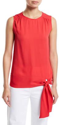 St. John Satin Silk Georgette Sleeveless Top w/ Shirring Detail & Tie