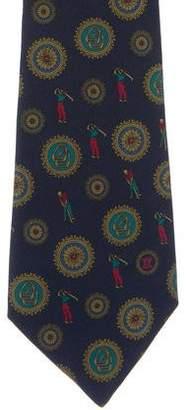 Celine Golfer Print Silk Tie