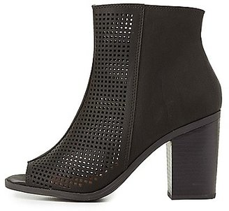 Perforated Peep Toe Ankle Booties $38.99 thestylecure.com