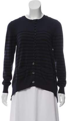 Lanvin Striped Button-Up Cardigan Navy Striped Button-Up Cardigan