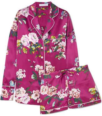 Olivia von Halle - Alba Floral-print Silk-satin Pajama Set - Magenta