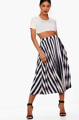 boohoo Woven Pleated Stripe Midi Skater Skirt