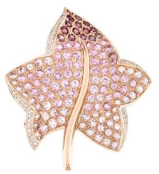 18K Sapphire Leaf Brooch