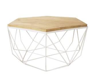 Nubuck Hexagonal White/natural Coffee Table
