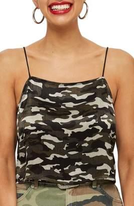 Topshop Crop Camo Print Camisole