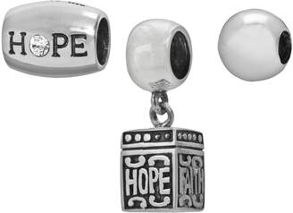 """Individuality Beads Sterling Silver Crystal """"Hope"""" Bead & Prayer Box Charm Set"""