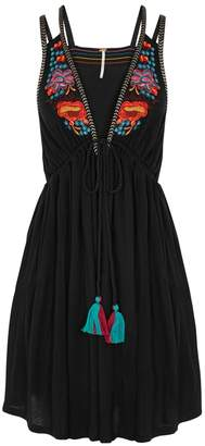 Free People Lovers Cover Embroidered Jersey Mini Dress