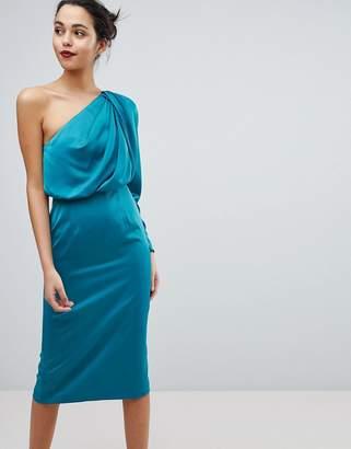 Asos DESIGN Satin Extreme Shoulder Midi Dress