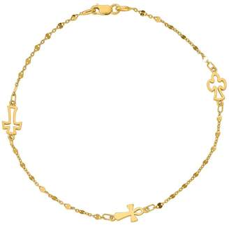 Italian Gold 14K Cross Station Ankle Bracelet,2.4g