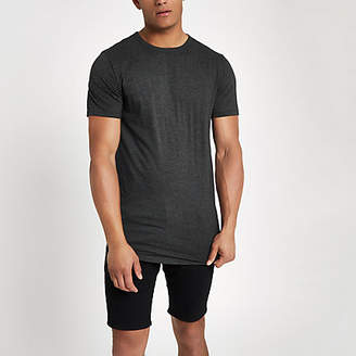 River Island Grey longline curved hem T-shirt
