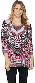 Women with Control Attitudes by Renee Placement Print V-Neck Tunicw/ Side Slits