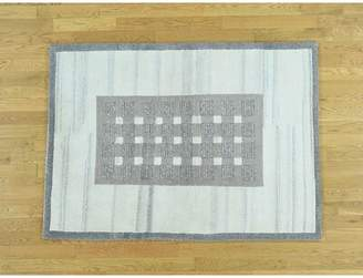 Isabelline One-of-a-Kind Becker Indo Plush Handwoven Gray Wool Area Rug Isabelline