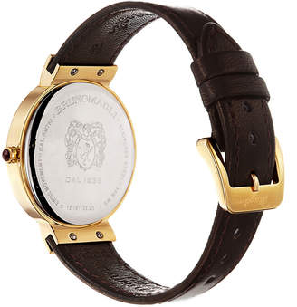 Bruno Magli 36mm Isabella Leather Watch, Brown/Gold