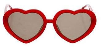 Alice + Olivia Heart Mirrored Sunglasses