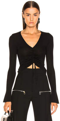 Nicholas Compact Ruched Front Tie Top in Black | FWRD
