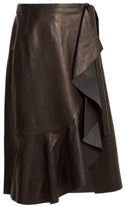 Helmut Lang Ruffled Panel Leather Skirt - Womens - Black