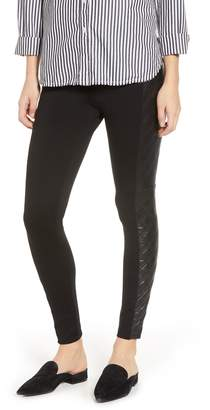 Lysse Gemma Faux Leather Quilted Panel Ankle Leggings
