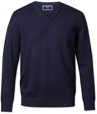 Charles Tyrwhitt Navy Merino Wool V-Neck Sweater Size Large