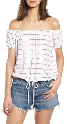 Sundry Stripe Off the Shoulder Tee