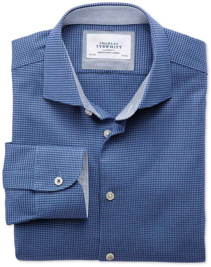 Extra Slim Fit Semi-Spread Collar Business Casual Textured Royal Blue Cotton Dress Shirt Single Cuff Size 15.5/35 by Charles Tyrwhitt