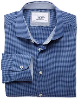 Charles Tyrwhitt Extra Slim Fit Semi-Spread Collar Business Casual Textured Royal Blue Cotton Dress Shirt Single Cuff Size 15.5/35