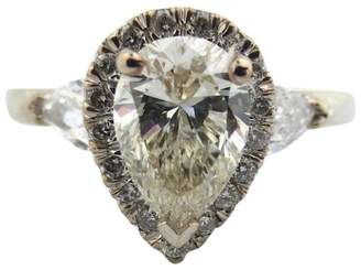 Platinum 1.61Ct Natural Pear Shape Cut Round Diamond Engagement Ring