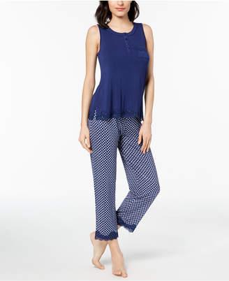 Alfani Printed Lace-Trim Pajama Set, Created for Macy's