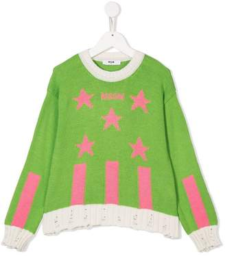 MSGM Kids intarsia knit sweater