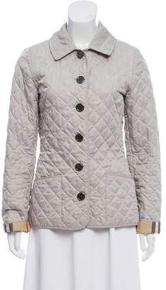 Burberry Quilted Button-Up Jacket Grey Quilted Button-Up Jacket