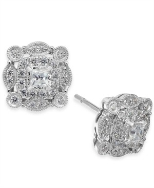 Macy's Diamond Vintage-Inspired Halo Stud Earrings (1/2 ct. t.w.) in 14k White Gold
