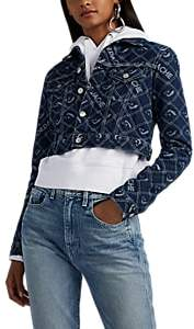 Women's Logo-Jacquard Denim Crop Trucker Jacket – Blue