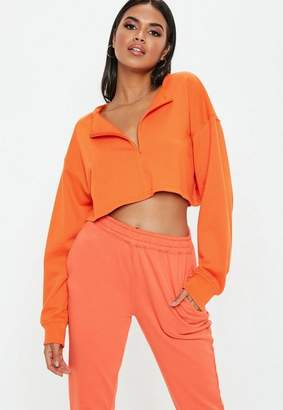Missguided Orange Inserted Zip Front Crop Sweatshirt