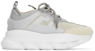 Versace Silver Glitter Chain Reaction Sneakers
