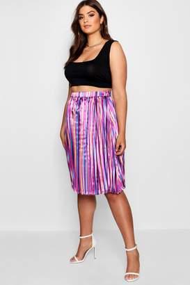 boohoo Plus Louise Stripe Pleated Midi Skirt