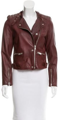 Sandro Mock Neck Leather Jacket $195 thestylecure.com
