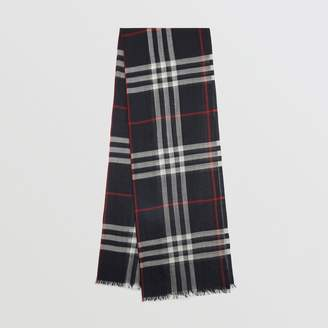 Burberry Lightweight Check Wool and Silk Scarf, Blue
