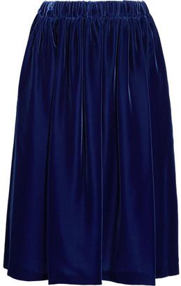 Comme des Garçons Comme des Garçons - Fluted Velvet Midi Skirt - Navy $590 thestylecure.com
