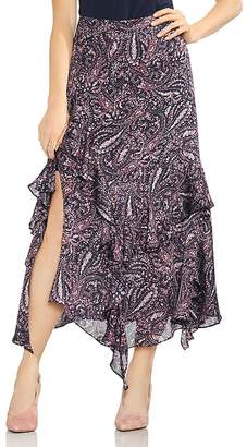 Vince Camuto Asymmetric Tiered Ruffle Paisley Skirt