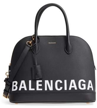 Balenciaga Medium Ville Logo Leather Satchel