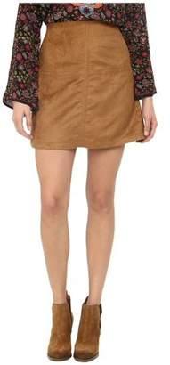 Sanctuary NEW Khaki Beige Womens Size Medium M Faux-Suede A-Line Skirt