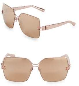 Linda Farrow Luxe Snakeskin Engraved 65MM Square Sunglasses