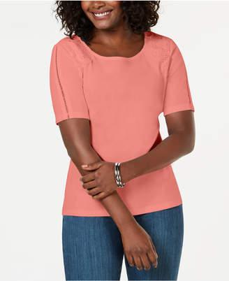Karen Scott Cotton Lace-Applique T-Shirt