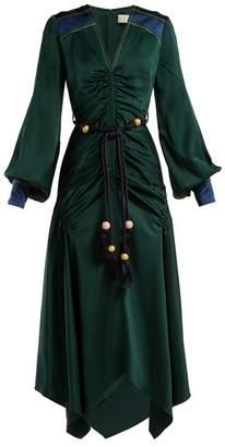 Peter Pilotto Belted handkerchief-hem satin dress